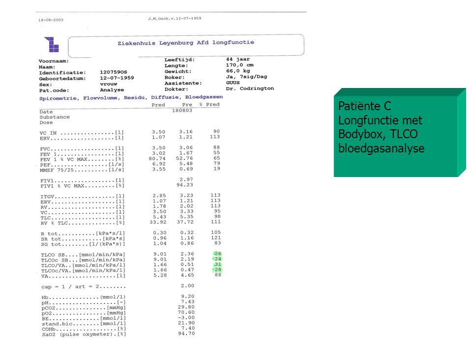 Patiënte C Longfunctie met Bodybox, TLCO bloedgasanalyse