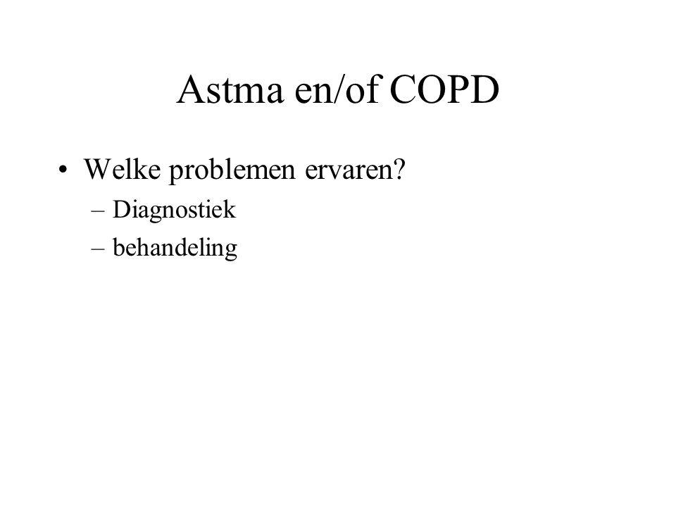 Dubbel diagnose astma en COPD Astma: patiënten met astma kunnen, indien men blijft roken of door onderbehandeling daarnaast ook irreversibele obstructie (COPD) ontwikkelen Behandeling gericht op zowel de astma als de COPD component