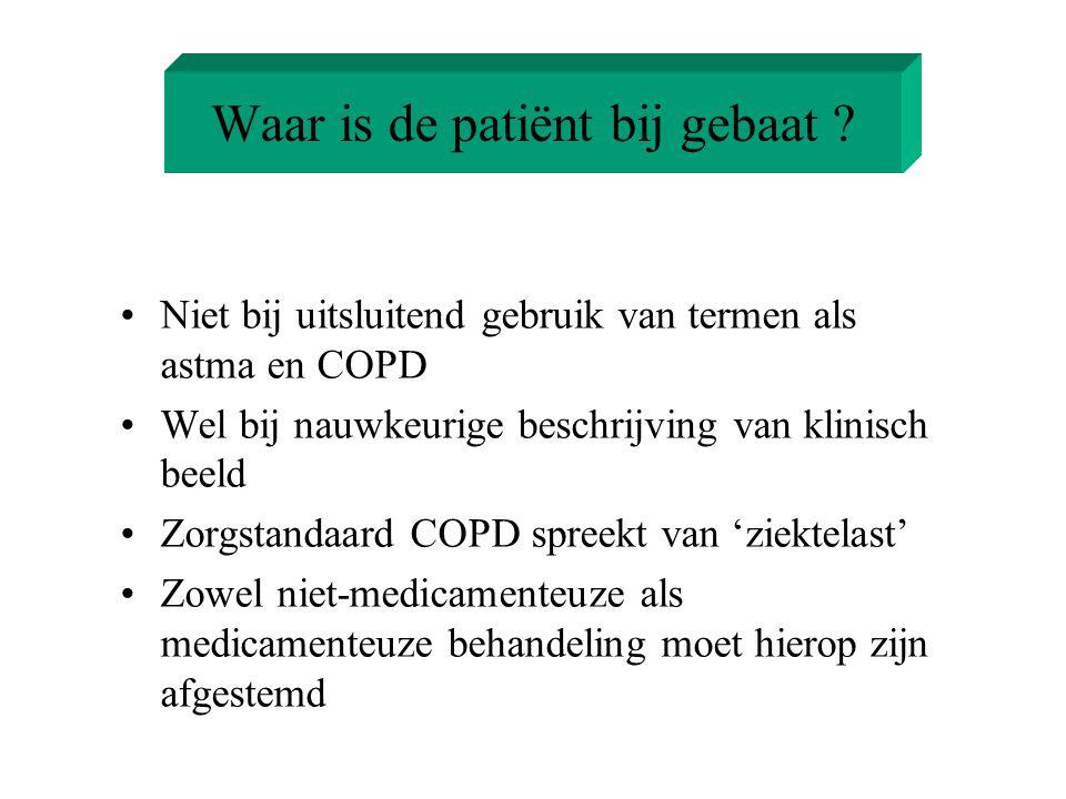 Waar is de patiënt bij gebaat ? Niet bij uitsluitend gebruik van termen als astma en COPD Wel bij nauwkeurige beschrijving van klinisch beeld Zorgstan