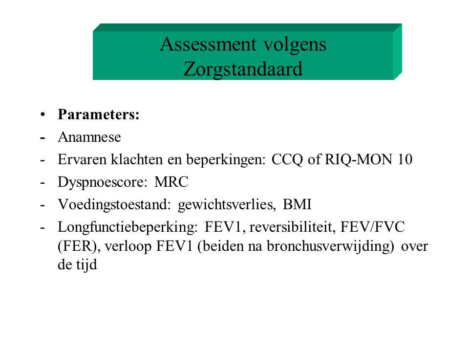 Assessment volgens Zorgstandaard Parameters: -Anamnese -Ervaren klachten en beperkingen: CCQ of RIQ-MON 10 -Dyspnoescore: MRC -Voedingstoestand: gewic