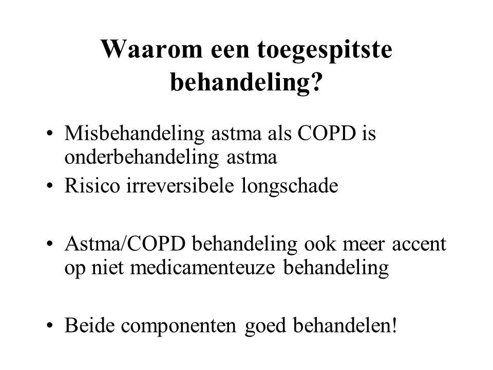Waarom een toegespitste behandeling? Misbehandeling astma als COPD is onderbehandeling astma Risico irreversibele longschade Astma/COPD behandeling oo