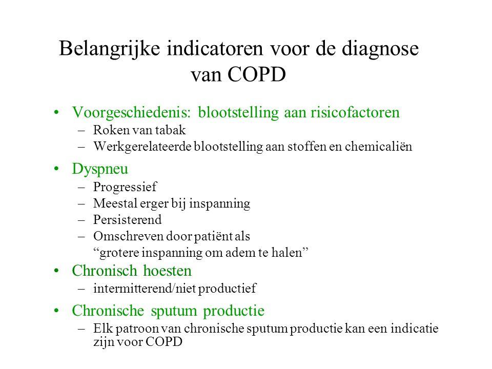 Belangrijke indicatoren voor de diagnose van COPD Voorgeschiedenis: blootstelling aan risicofactoren –Roken van tabak –Werkgerelateerde blootstelling