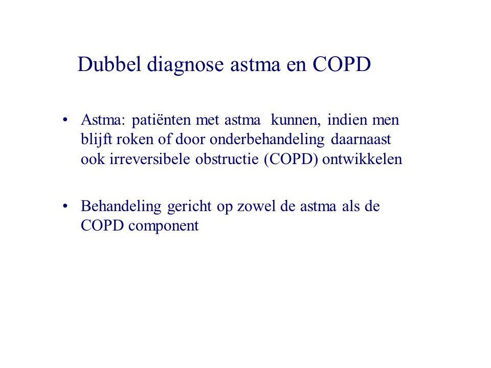 Dubbel diagnose astma en COPD Astma: patiënten met astma kunnen, indien men blijft roken of door onderbehandeling daarnaast ook irreversibele obstruct