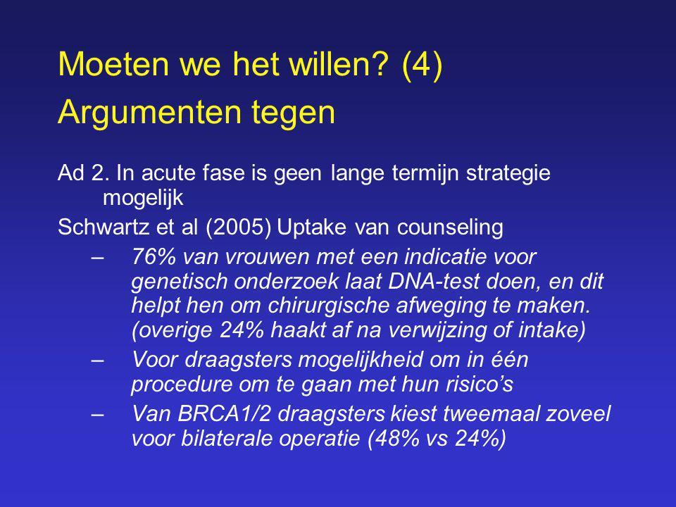 Moeten we het willen? (4) Argumenten tegen Ad 2. In acute fase is geen lange termijn strategie mogelijk Schwartz et al (2005) Uptake van counseling –7