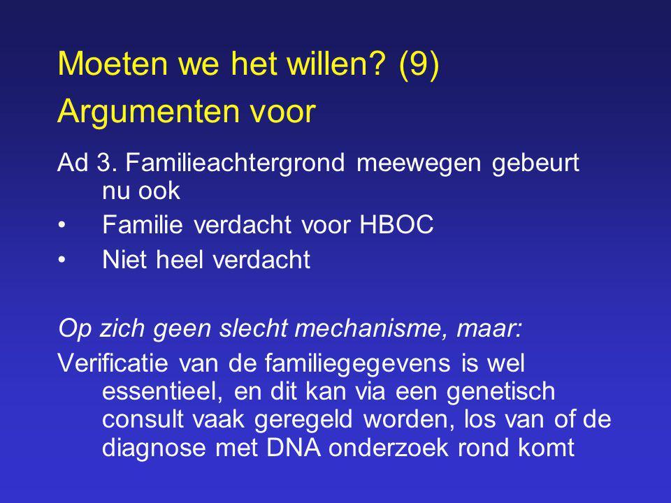 Moeten we het willen? (9) Argumenten voor Ad 3. Familieachtergrond meewegen gebeurt nu ook Familie verdacht voor HBOC Niet heel verdacht Op zich geen
