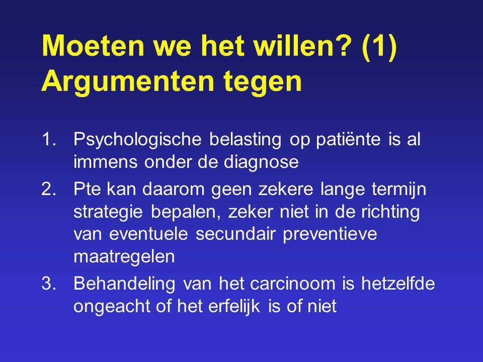 Moeten we het willen? (1) Argumenten tegen 1.Psychologische belasting op patiënte is al immens onder de diagnose 2.Pte kan daarom geen zekere lange te