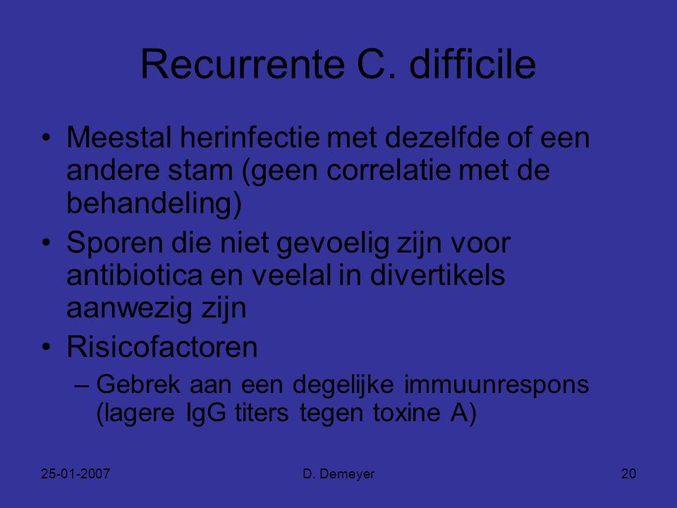 25-01-2007D. Demeyer20 Recurrente C. difficile Meestal herinfectie met dezelfde of een andere stam (geen correlatie met de behandeling) Sporen die nie