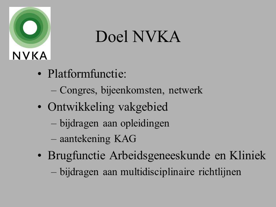 Doel NVKA Platformfunctie: –Congres, bijeenkomsten, netwerk Ontwikkeling vakgebied –bijdragen aan opleidingen –aantekening KAG Brugfunctie Arbeidsgeneeskunde en Kliniek –bijdragen aan multidisciplinaire richtlijnen