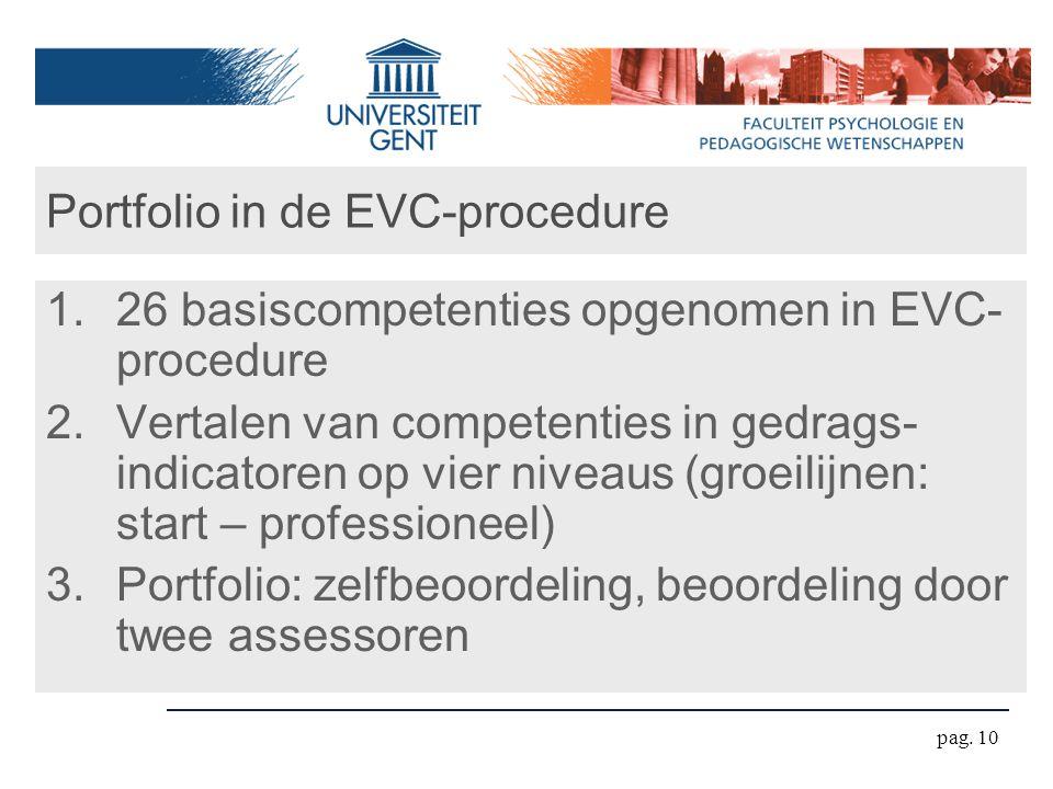 pag. 10 Portfolio in de EVC-procedure 1.26 basiscompetenties opgenomen in EVC- procedure 2.Vertalen van competenties in gedrags- indicatoren op vier n