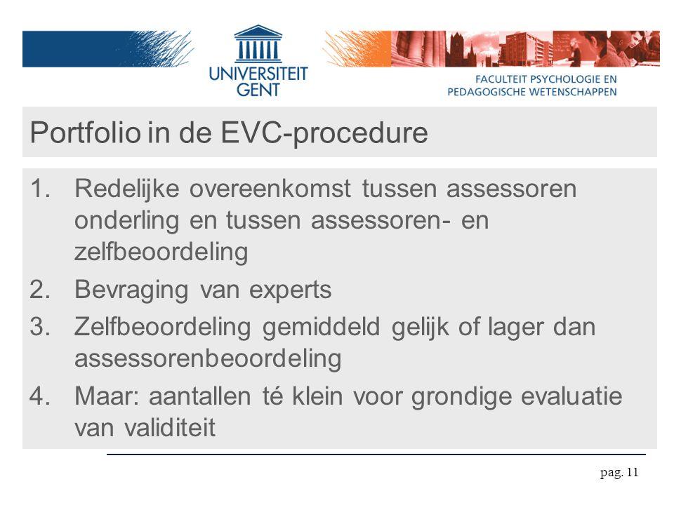 pag. 11 Portfolio in de EVC-procedure 1.Redelijke overeenkomst tussen assessoren onderling en tussen assessoren- en zelfbeoordeling 2.Bevraging van ex