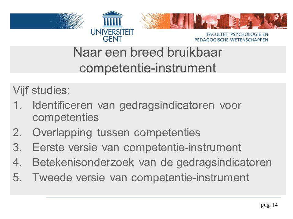 pag. 14 Naar een breed bruikbaar competentie-instrument Vijf studies: 1.Identificeren van gedragsindicatoren voor competenties 2.Overlapping tussen co