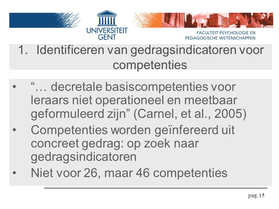 """pag. 15 1.Identificeren van gedragsindicatoren voor competenties """"… decretale basiscompetenties voor leraars niet operationeel en meetbaar geformuleer"""