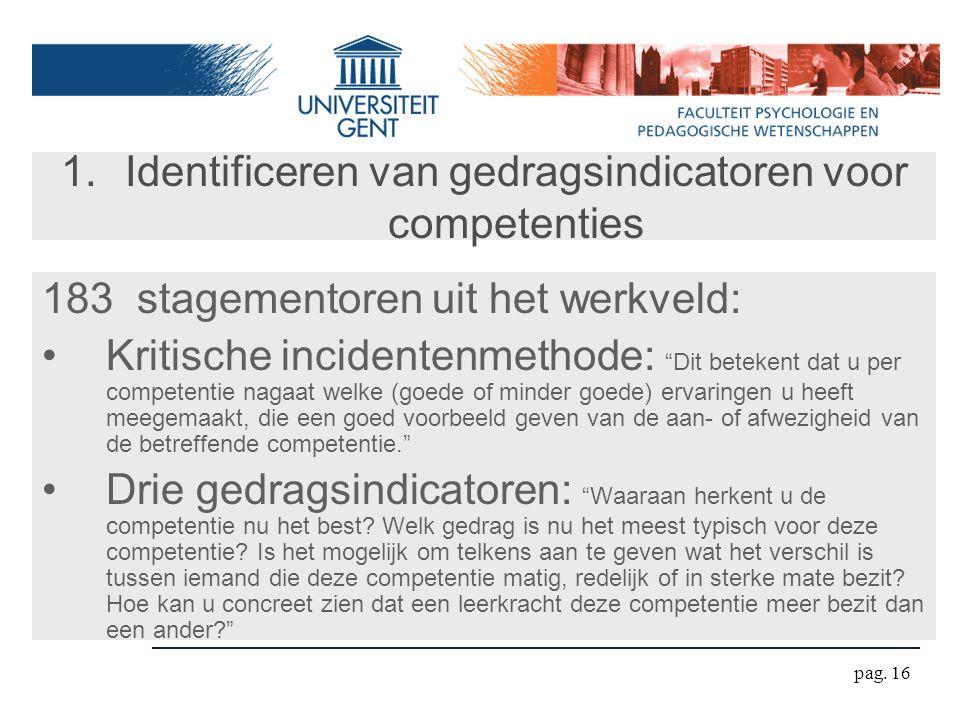 """pag. 16 1.Identificeren van gedragsindicatoren voor competenties 183 stagementoren uit het werkveld: Kritische incidentenmethode: """"Dit betekent dat u"""