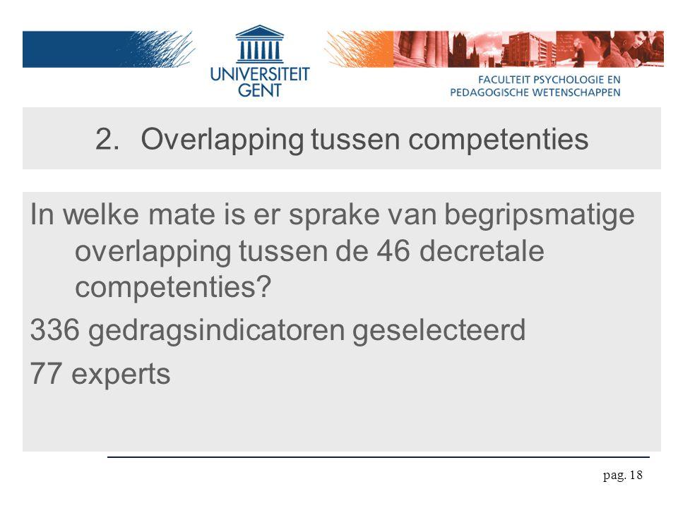 pag. 18 2.Overlapping tussen competenties In welke mate is er sprake van begripsmatige overlapping tussen de 46 decretale competenties? 336 gedragsind