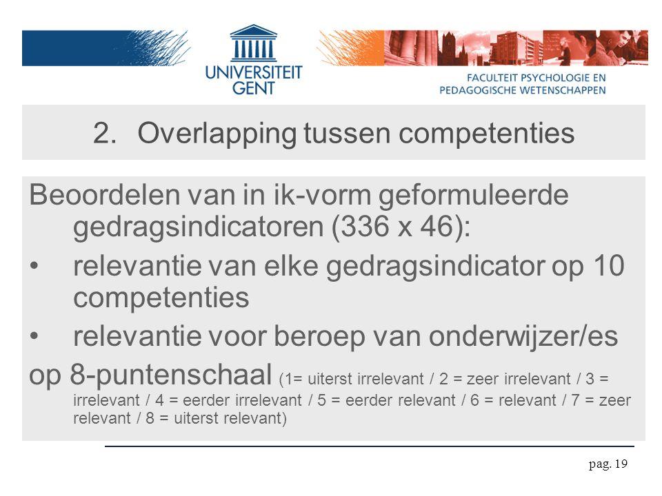 pag. 19 2.Overlapping tussen competenties Beoordelen van in ik-vorm geformuleerde gedragsindicatoren (336 x 46): relevantie van elke gedragsindicator