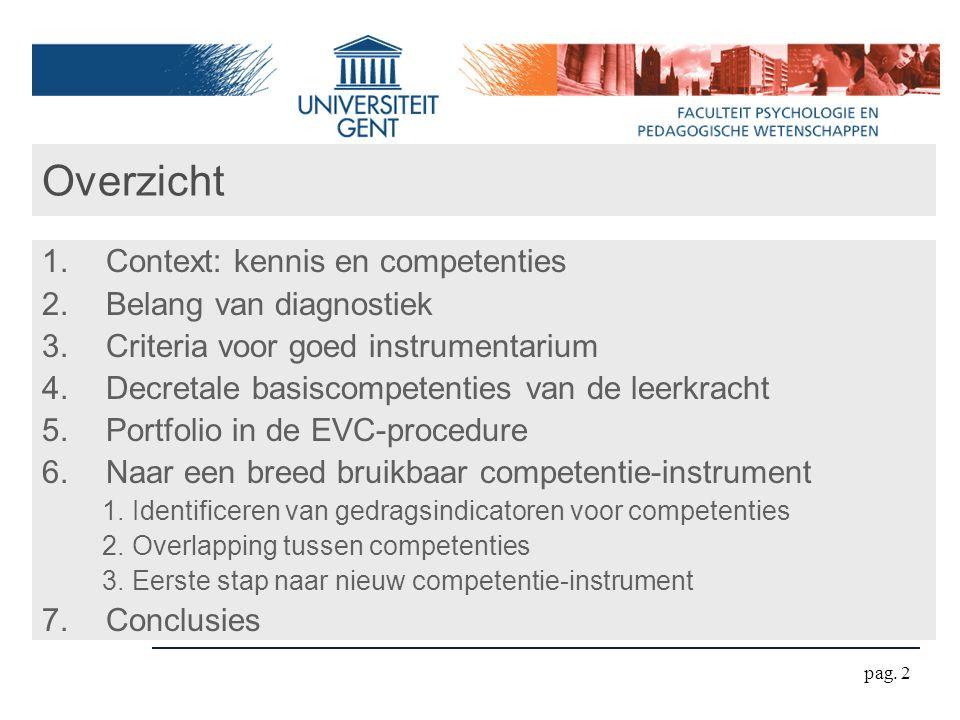 pag. 2 Overzicht 1.Context: kennis en competenties 2.Belang van diagnostiek 3.Criteria voor goed instrumentarium 4.Decretale basiscompetenties van de