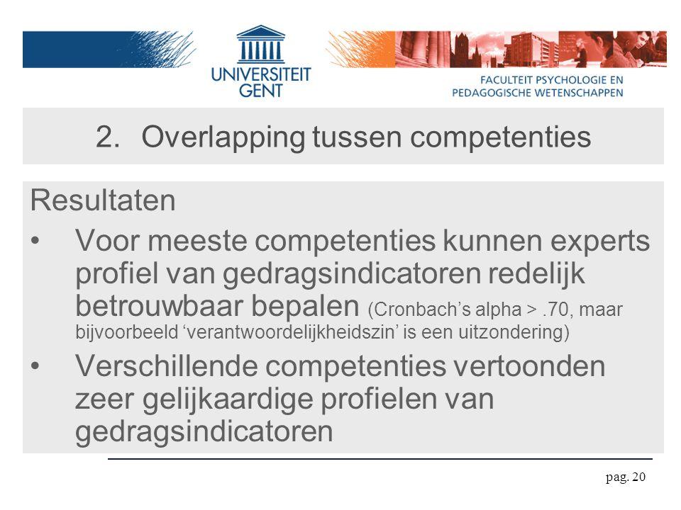 pag. 20 2.Overlapping tussen competenties Resultaten Voor meeste competenties kunnen experts profiel van gedragsindicatoren redelijk betrouwbaar bepal