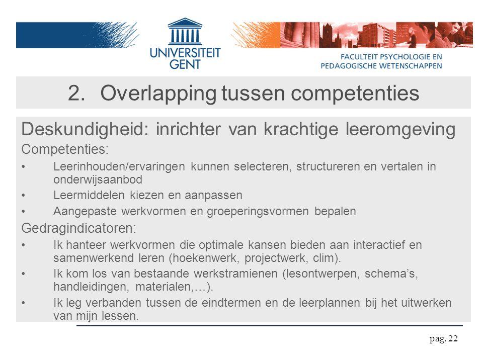 pag. 22 2.Overlapping tussen competenties Deskundigheid: inrichter van krachtige leeromgeving Competenties: Leerinhouden/ervaringen kunnen selecteren,