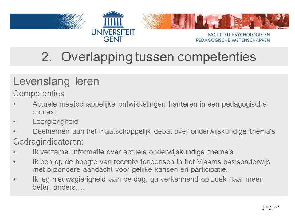pag. 23 2.Overlapping tussen competenties Levenslang leren Competenties: Actuele maatschappelijke ontwikkelingen hanteren in een pedagogische context