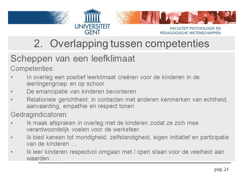 pag. 24 2.Overlapping tussen competenties Scheppen van een leefklimaat Competenties: In overleg een positief leerklimaat creëren voor de kinderen in d