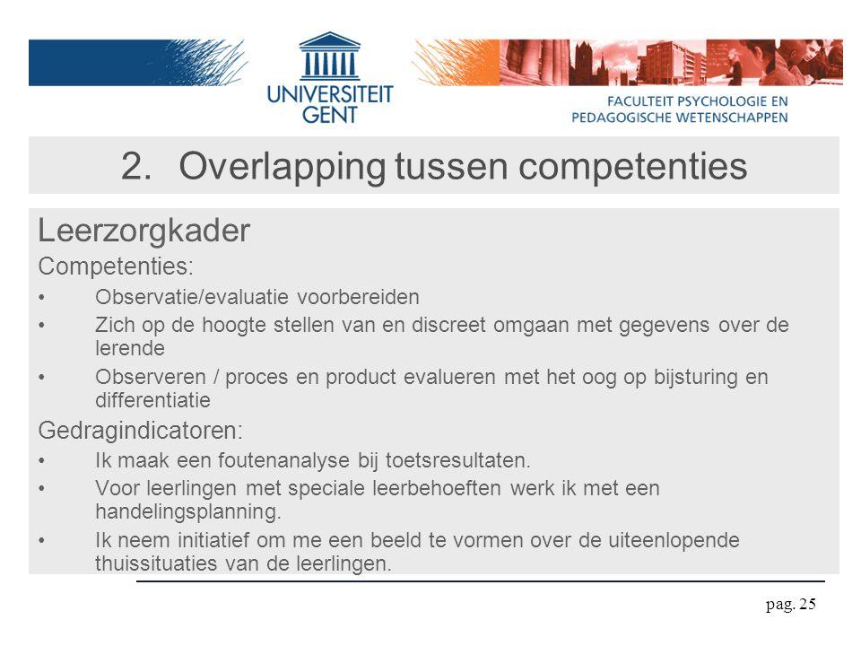 pag. 25 2.Overlapping tussen competenties Leerzorgkader Competenties: Observatie/evaluatie voorbereiden Zich op de hoogte stellen van en discreet omga