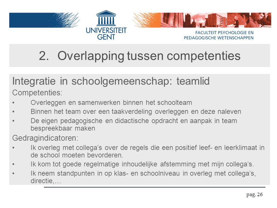 pag. 26 2.Overlapping tussen competenties Integratie in schoolgemeenschap: teamlid Competenties: Overleggen en samenwerken binnen het schoolteam Binne