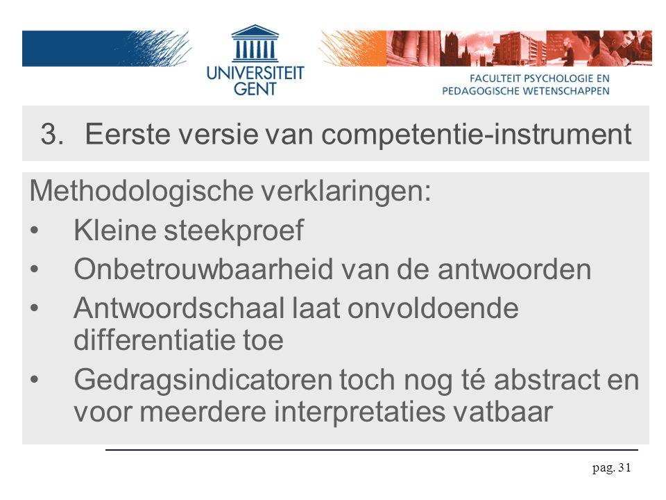 pag. 31 3.Eerste versie van competentie-instrument Methodologische verklaringen: Kleine steekproef Onbetrouwbaarheid van de antwoorden Antwoordschaal