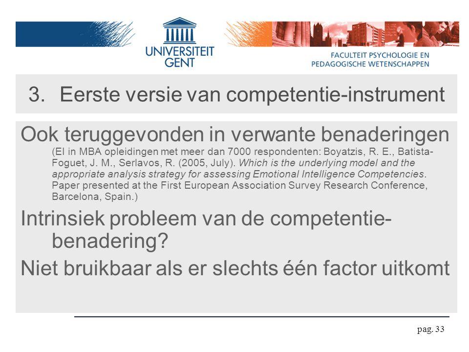 pag. 33 3.Eerste versie van competentie-instrument Ook teruggevonden in verwante benaderingen (EI in MBA opleidingen met meer dan 7000 respondenten: B