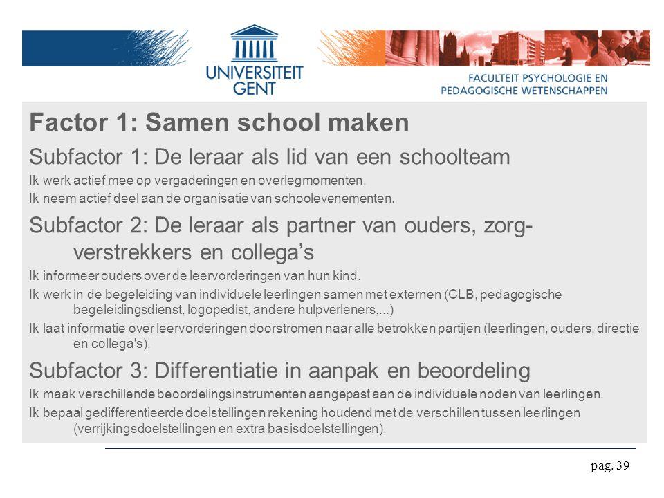 pag. 39 Factor 1: Samen school maken Subfactor 1: De leraar als lid van een schoolteam Ik werk actief mee op vergaderingen en overlegmomenten. Ik neem