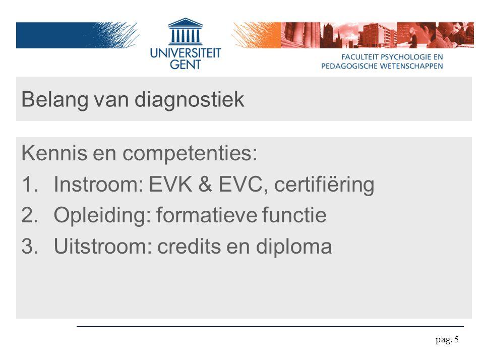 pag. 5 Belang van diagnostiek Kennis en competenties: 1.Instroom: EVK & EVC, certifiëring 2.Opleiding: formatieve functie 3.Uitstroom: credits en dipl