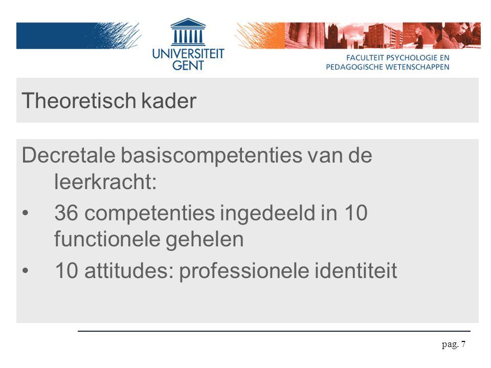 pag. 7 Theoretisch kader Decretale basiscompetenties van de leerkracht: 36 competenties ingedeeld in 10 functionele gehelen 10 attitudes: professionel