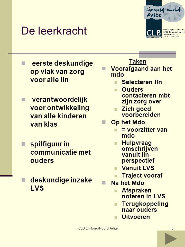CLB Limburg-Noord Adite6 Rol van de ondersteunende leerkracht Taakleerkracht Gok leerkracht …..