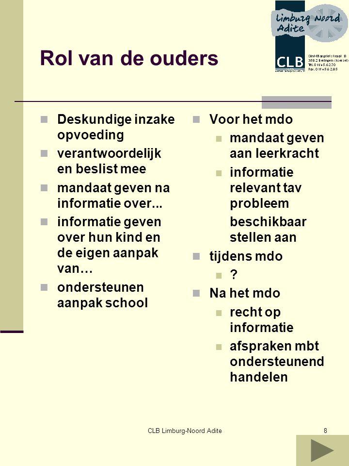 CLB Limburg-Noord Adite9 Handvaten voor…zorgvragen Selecteren Selecteren lln die onvoldoende profiteren van het onderwijsaanbod of onvoldoende gedijen op school GOK of niet.