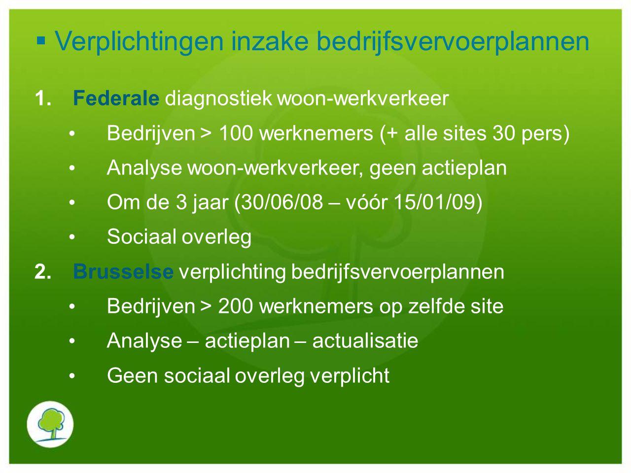 1.Federale diagnostiek woon-werkverkeer Bedrijven > 100 werknemers (+ alle sites 30 pers) Analyse woon-werkverkeer, geen actieplan Om de 3 jaar (30/06