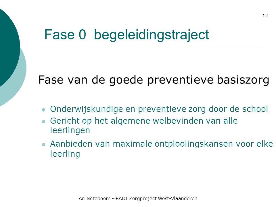 An Noteboom - RADI Zorgproject West-Vlaanderen 12 Fase 0 begeleidingstraject Fase van de goede preventieve basiszorg Onderwijskundige en preventieve z