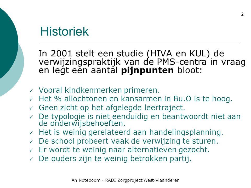 An Noteboom - RADI Zorgproject West-Vlaanderen 2 Historiek In 2001 stelt een studie (HIVA en KUL) de verwijzingspraktijk van de PMS-centra in vraag en