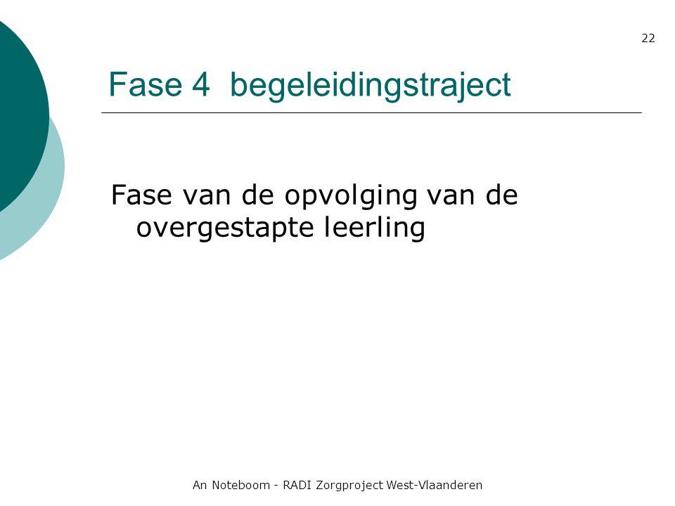 An Noteboom - RADI Zorgproject West-Vlaanderen 22 Fase 4 begeleidingstraject Fase van de opvolging van de overgestapte leerling