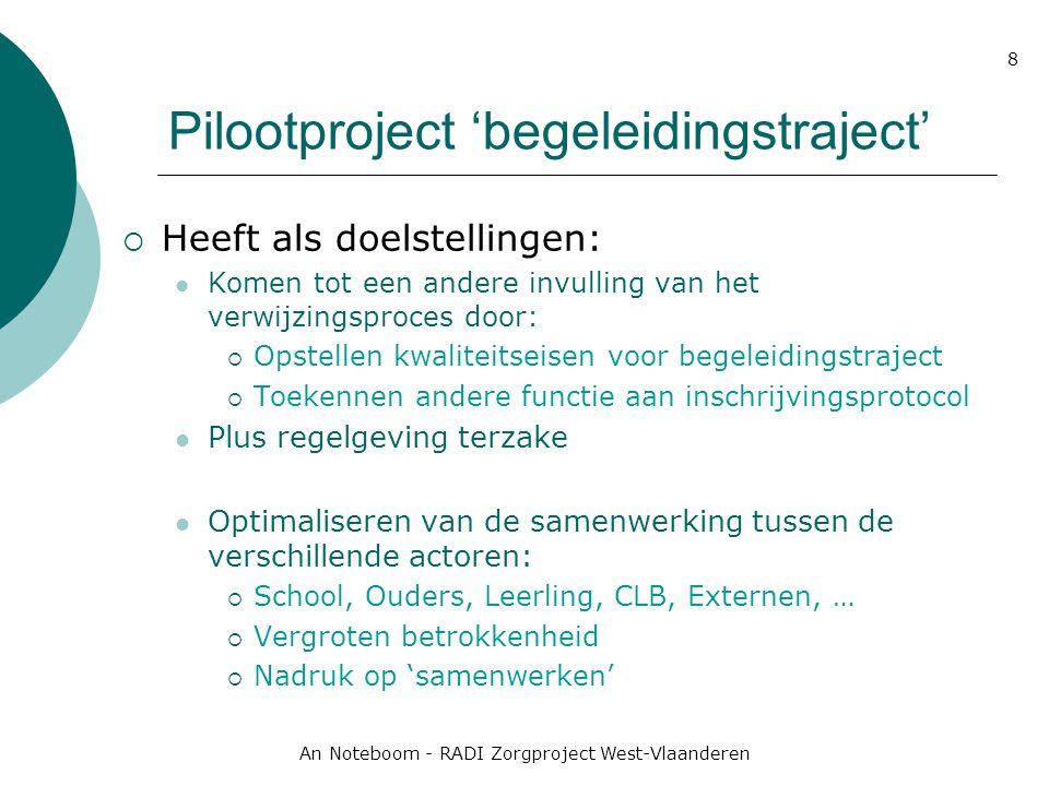 An Noteboom - RADI Zorgproject West-Vlaanderen 8 Pilootproject 'begeleidingstraject'  Heeft als doelstellingen: Komen tot een andere invulling van he