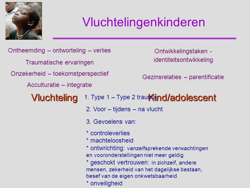 Emotionele en gedragsproblemen Prevalentie-onderzoek Minderjarige anderstalige nieuwkomers (n = 1294) Onthaalklassen voor Anderstalige Nieuwkomers Belgische adolescenten (n = 607) Klassen secundair onderwijs Begeleide minderjarige vluchtelingen Niet-begeleide minderjarige vluchtelingen www.centrum45.nlwww.centrum45.nl; http://sdqinfo.comhttp://sdqinfo.com Zelf-rapportage (HSCL-37A, SDQ-self, SLE en RATS) Uitdieping: Onderzoek bij NBBM in opvangcentra, pleeggezinnen en begeleid zelfstandig wonen Perspectief jongere vs perspectief begeleider Invloed aard woonvoorziening Visie jongere op heden, verleden en toekomst Zelf-rapportage Rapportage begeleider (CBCL, SDQ-parent) Interviews