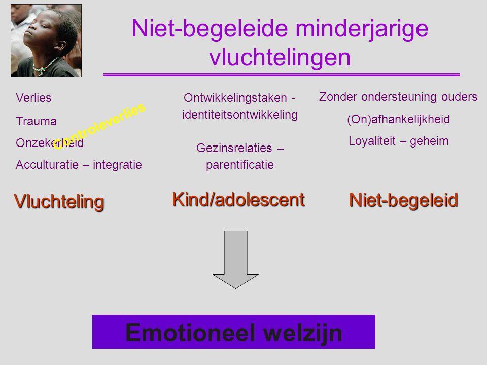 Vluchteling Verlies Trauma Onzekerheid Acculturatie – integratie Kind/adolescent Ontwikkelingstaken - identiteitsontwikkeling Gezinsrelaties – parenti