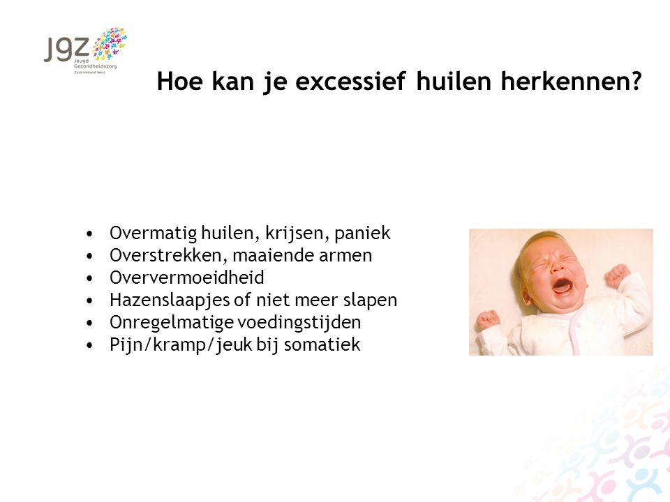 Oorzaken van excessief huilen (1) Mogelijke lichamelijke oorzaken: Gastro-oesofageale reflux Urineweginfectie Voeding Roken Cranio cervicale gewrichten Darmflora Mogelijke psychosociale oorzaken Depressiviteit en sociale stressoren bij ouders