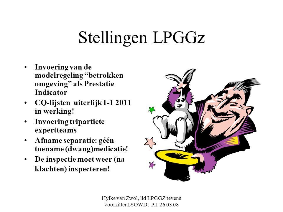 """Hylke van Zwol, lid LPGGZ tevens voorzitter LSOWD, P.I. 26 03 08 Stellingen LPGGz Invoering van de modelregeling """"betrokken omgeving"""" als Prestatie In"""