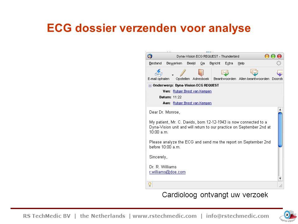 RS TechMedic BV   the Netherlands   www.rstechmedic.com   info@rstechmedic.com ECG dossier verzenden voor analyse Cardioloog ontvangt uw verzoek