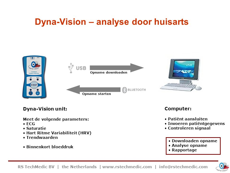 RS TechMedic BV | the Netherlands | www.rstechmedic.com | info@rstechmedic.com Dyna-Vision – analyse door huisarts Dyna-Vision unit: Meet de volgende