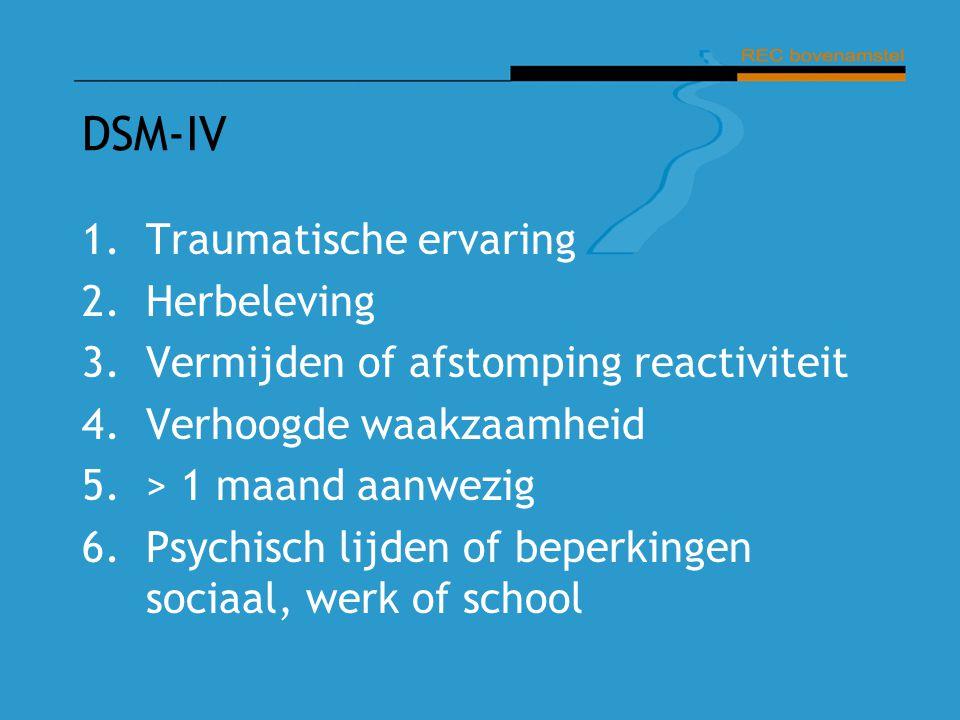 DSM-IV 1.Traumatische ervaring 2.Herbeleving 3.Vermijden of afstomping reactiviteit 4.Verhoogde waakzaamheid 5.> 1 maand aanwezig 6.Psychisch lijden o