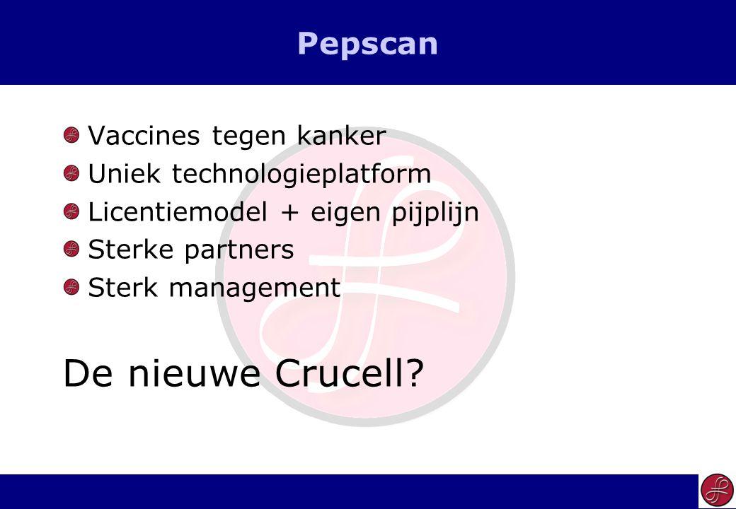 5 Pepscan Vaccines tegen kanker Uniek technologieplatform Licentiemodel + eigen pijplijn Sterke partners Sterk management De nieuwe Crucell