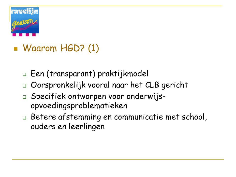 Waarom HGD? (1)  Een (transparant) praktijkmodel  Oorspronkelijk vooral naar het CLB gericht  Specifiek ontworpen voor onderwijs- opvoedingsproblem