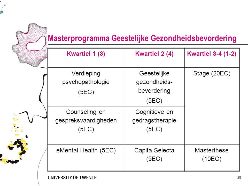 28 Masterprogramma Geestelijke Gezondheidsbevordering Kwartiel 1 (3)Kwartiel 2 (4)Kwartiel 3-4 (1-2) Verdieping psychopathologie (5EC) Geestelijke gez