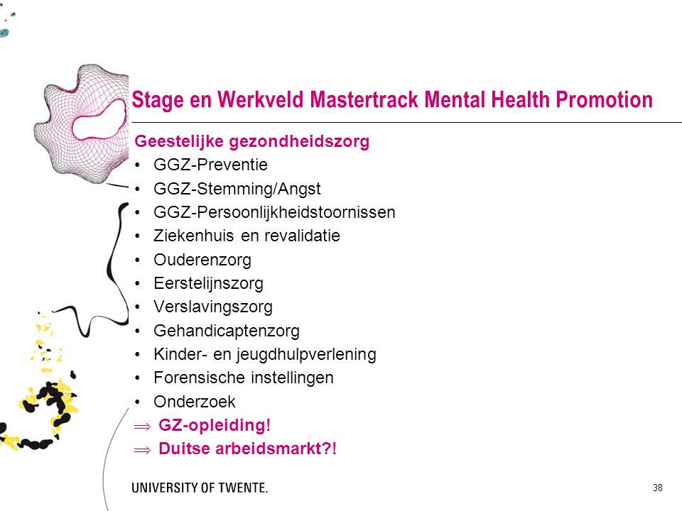 38 Stage en Werkveld Mastertrack Mental Health Promotion Geestelijke gezondheidszorg GGZ-Preventie GGZ-Stemming/Angst GGZ-Persoonlijkheidstoornissen Z