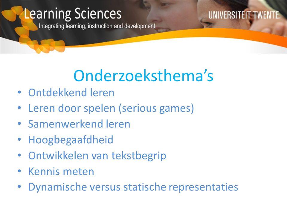 Onderzoeksthema's Ontdekkend leren Leren door spelen (serious games) Samenwerkend leren Hoogbegaafdheid Ontwikkelen van tekstbegrip Kennis meten Dynam
